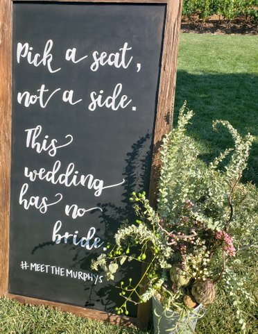 mountain house estate wedding, two grooms, gay wedding, sonoma county wedding, rustic wedding, wine country wedding, lgbtq wedding, ybarra events, noo bride wedding sign