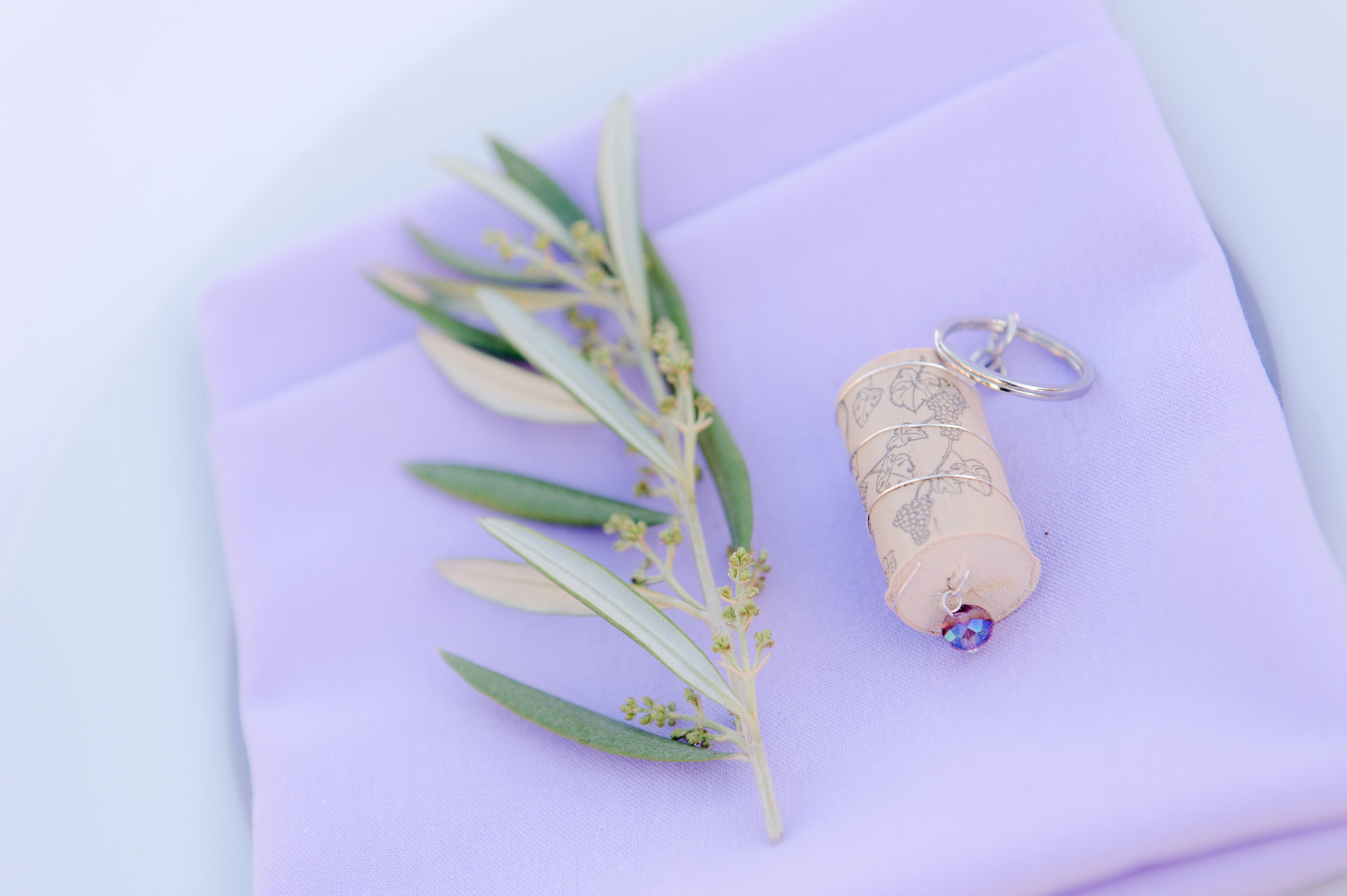 olive leaf napkin cork favor