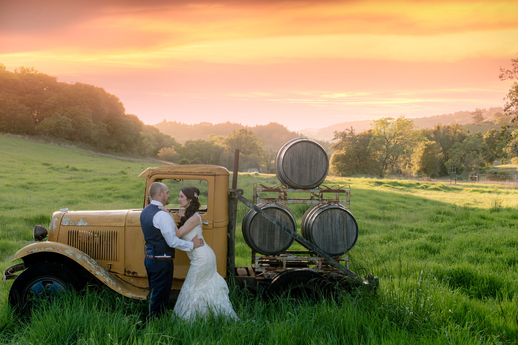 rustic wedding sunset