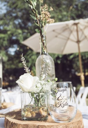 mountain house estate wedding, two grooms, gay wedding, sonoma county wedding, rustic wedding, wine country wedding, lgbtq wedding, wine cup wedding favor, rustic centerpiece