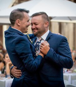 mountain house estate wedding, two grooms, gay wedding, sonoma county wedding, rustic wedding, wine country wedding, lgbtq wedding, two grooms 1st dance