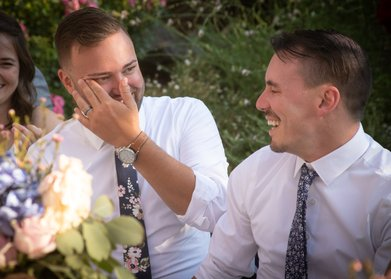 mountain house estate wedding, two grooms, gay wedding, sonoma county wedding, rustic wedding, wine country wedding, lgbtq wedding, grooms laughing toasts