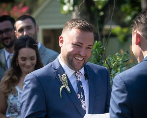 mountain house estate wedding, two grooms, gay wedding, sonoma county wedding, rustic wedding, wine country wedding, lgbtq wedding, groom laughing