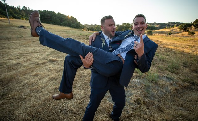 mountain house estate wedding, two grooms, gay wedding, sonoma county wedding, rustic wedding, wine country wedding, lgbtq wedding, two grooms sweetheart photos