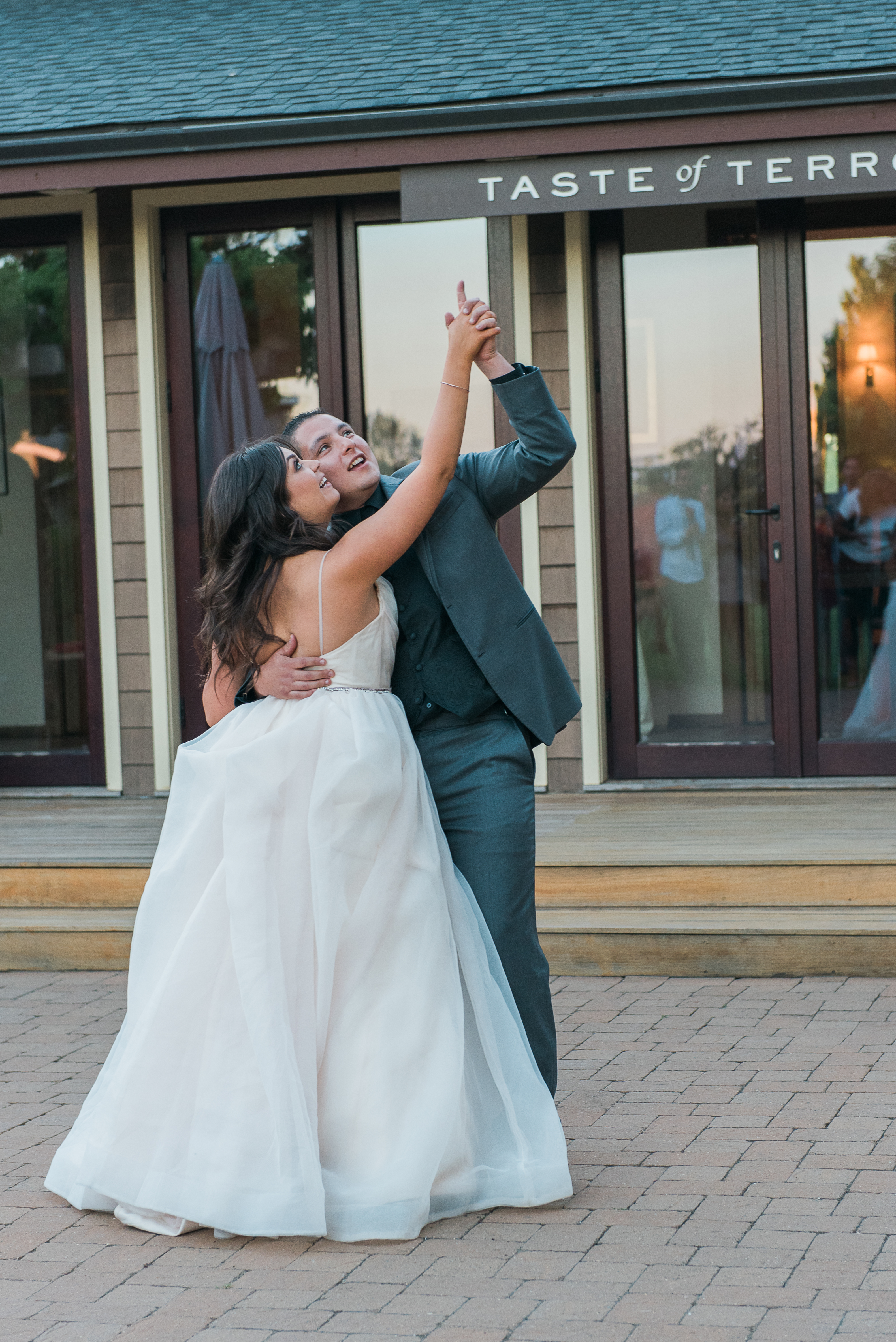 bride and groom first dance delorimier winery
