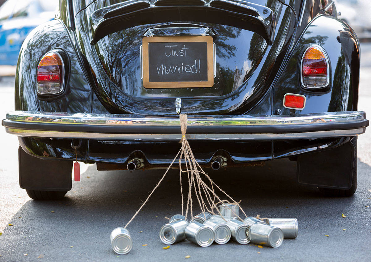 just married sign, wedding cans, cans dragged from cars, partial wedding planning, wedding planning packages