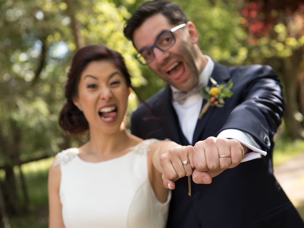 funny wedding goofy bride and groom rings